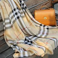 Free Shipping Spring british style classic plaid large facecloth faux slanting fluid stripe scarf sun cape female