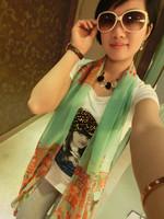 Free Shipping 2013 spring and autumn faux silk scarf chiffon print silk scarf sun cape design long scarf female