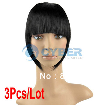 Cheap 3Pcs/Lot Women Straight Clip on Front Neat Bang In Fringe Hair Piece Extension Black 10000