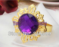 Lowest Price-100pcs Purple Gold Plated Vintage Style Napkin Rings Wedding Decorations Wedding Supplies