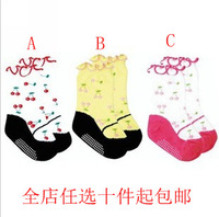 100% cotton cherry roll-up hem child socks slip-resistant rubber socks baby shoes socks for 1--3 years old baby