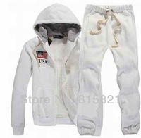 Free shipping 2013 Brand Designer Polo Men's Zipper American Flag Hoodie Sweatshirt Pants Suit Sweater Sport Set Jacket Suit