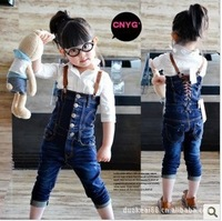 Children's clothing female child spring and autumn denim lacing tube top bib pants jeans jumpsuit