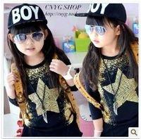 2014autumn female child five-pointed star rivet long-sleeve T-shirt child basic shirt