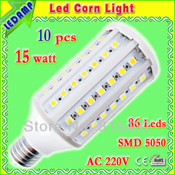 led corn e27 15w ac 220v light bulb _ 86 leds 5050 smd 1500 lumen led bulb light warm / white free shipping