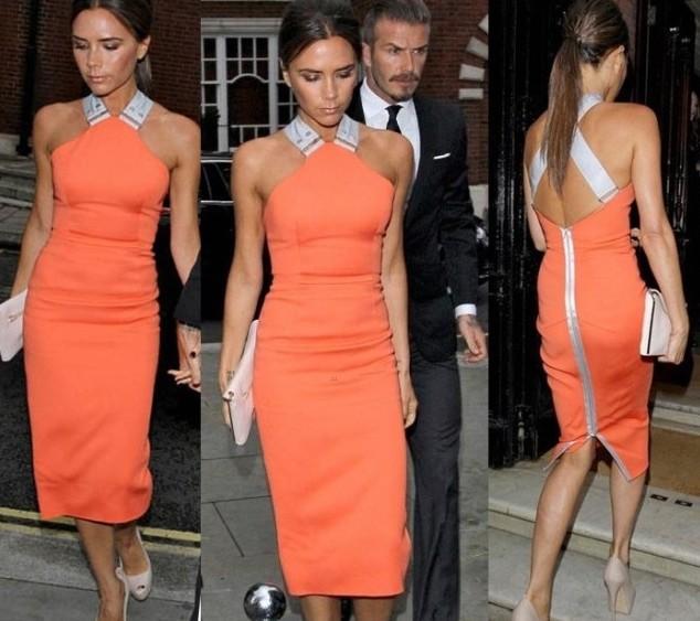 Orange&white Bodycon Dress