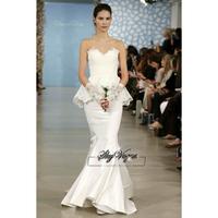 13W030 Ruched Strapless Mermaid Brush Train Gorgeous Luxury Unique Brilliant Bridal Wedding Dress Free Shipping