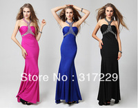 New Fashion Woman Halter Backless Long Formal Promal Gowns Slim Evening Party Dress LF039