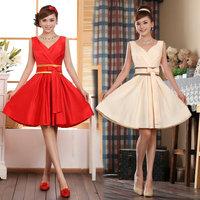 Free fast shipping satin V neck bridal dress short design formal evening dress bridal dress formal dress 1pcs/lot