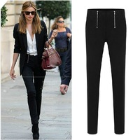 2013 New autumn casual trousers in black and white for women / ladies skinny pencil pants  knit pants S,M,L,XL,XXL Free shipping