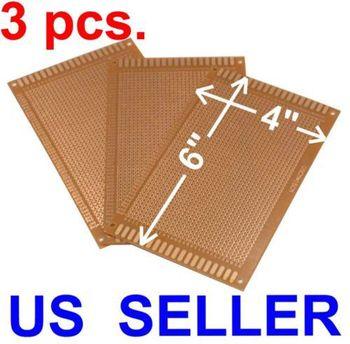 "THREE 4x6"" Prototyping PCB Printed Circuit Board Prototype Breadboard Stripboard"
