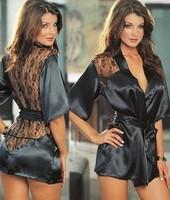 Free Shipping New Sex Black Back Halter Lingerie Set sexy underwear Costume,Sexy Kimono ,Sexy Uniform