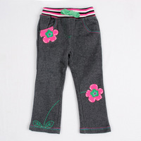 Free shipping NWT 5pcs/lot girl's autumn cotton material grey casual long pant with applique flowers