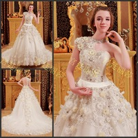 Free shipping 2013 New design real sample crystal Appliques white Formal Royal train Tulle Elegant  Princess wedding Dress xj17