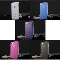 1/5 Colors Ultra Slim Matte Clear Cover Case Skin for i Phone 4 4S free shipping