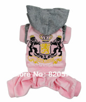 Retail  Pet Dogs Four Legs Pink coat  with Gray  Hat Free Shipping Dogs clothes 2013 new clothing for dog