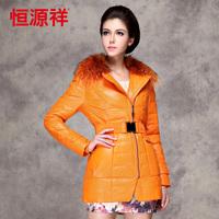 2013 new female medium-long large raccoon fur down coat PU fashion outerwear