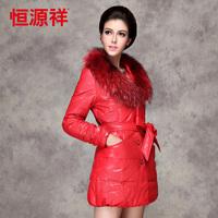 2013 New  female medium-long large raccoon fur down coat fashion winter PU outerwear