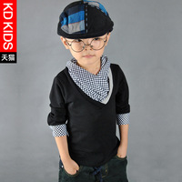 2013 autumn kd children's clothing male child faux two piece preppy style child long-sleeve T-shirt