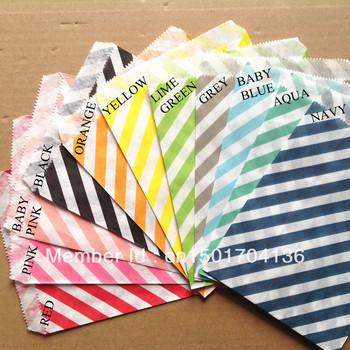 """11 Stripe Colors Mix 1100pcs   party favor Bags  5""""x7"""" (12.7cm x 17.7cm) Party Supplies Candy Paper Goods Bag"""