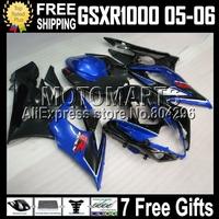 7gifts For SUZUKI K5 GSXR 1000 05-06 GSXR1000 K5 05 06 blue black 2005 2006 GSX-R1000 GSX R1000 blue 544 Q41 Fairing Kit