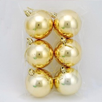 24pcs/lot ,Carton Package Christmas Tree Ornament Gold Plating High Quality 6cm Dia Christmas Balls