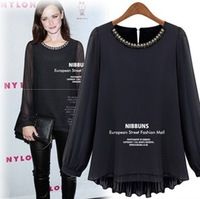 2013 Autumn NEW!! European temperament and High density chiffon blouse, O-Neck Nail bead design shirt
