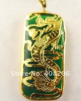 3pc  Jewellery Emerald Green Jade Dragon Pendant free shipping