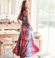 2013 New Women's Free Shipping Graceful Stylish Frills Design Braces Bohemian Maxi Dress O12040813