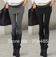Wholesale Grey Black Sexy slim fit stretch leggings with mini skirts fashion women's false two-piece legging Free Shipping