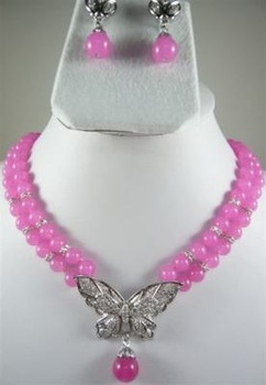 Fashion Set Jewelry 2 Row Pink Chalcedony Necklace Earring