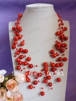 Free ship!!!Stardust beads design jewelry red coral necklace