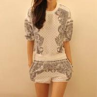 2013 autumn mushroom women's fashion print top shorts casual sports set