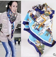 Euro Fashion Classic  Brand  Women Square Scarf  Lady Designer Silk Shawl 90*90cm