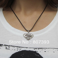 Fashion Jewelry Superman black leather string Stainless Steel Pendant Necklace,50pcs/lot,free shipping