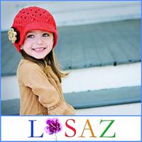 Winter Kids Crochet Flower Hats Handmade Christmas Knit Hat