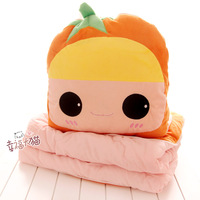 Free shipping 150cm funny cartoon orange girl soft cotton blanket air condition nap cushion plush toy novelty children gift 1 pc