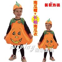 free shipping Halloween child clothes pumpkin clothes pumpkin set pumpkin clothes hat