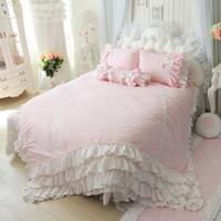 Flax Linen Bedding Set,Pink Blue Bedding Sets,Princess Lace Ruffle Duvet Covers,Twin Queen King Size,4Pcs