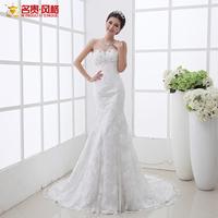 F Exteravagant bride wedding formal dress lace tube top bandage fish tail wedding dress short trailing wedding dress