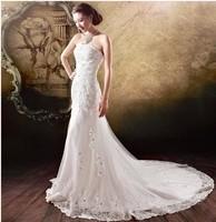 F The bride wedding dress formal dress 2014 short trailing princess wedding dress sweet fish tail wedding dress 068