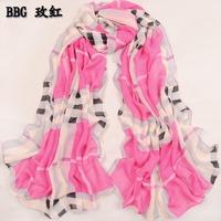 wholesale 10pcs/lot Velvet chiffon 2014 fashion plaid silk scarf big four seasons all-match scarf paragraph long design female