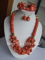 Free ship!!!fashion African wedding jewelry set Pink drum and leaf coral necklace bracelet earring set