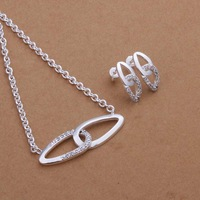Free Shipping 925 Sterling Silver Jewelry Set Fine Fashion Zircon Charm Pendant Silver Jewelry sets Necklace Earring SMTS399