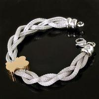 Free Shipping Retail Hot Selling Women Girls'  316L Stainless Steel 18K Gold Plating Bear Chain Bangle Bracelet