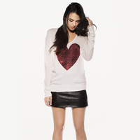 [Cerlony] Sweater New 2014 Fashion Wildfox Brand Women's Red Heart Paillette Knitted Cardigan Plus Size Pinting Pullovers SW29-2