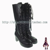 Cos women's shoes lolita boots lacing high-leg boots thick heel dress boots 8122 black