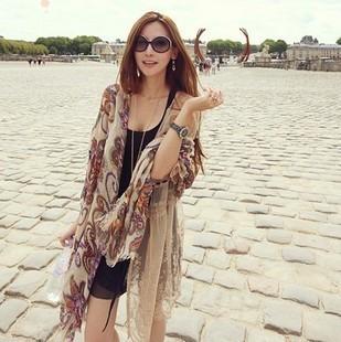 Ms. warm vintage bohemia tassel scarf shawl large facecloth scarf sun cape