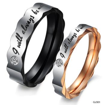 Accessories 2012 fashion jewelry titanium rhinestone lovers ring gj301
