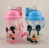 Cute Mickey Child Kids Touchtone Transparent Straws Mini Water Bottle Cup Free Shipping